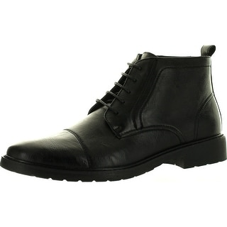 Polar Fox Mpx-582 Mens Faux Leather Lace-Up Ankle Bootie - Black