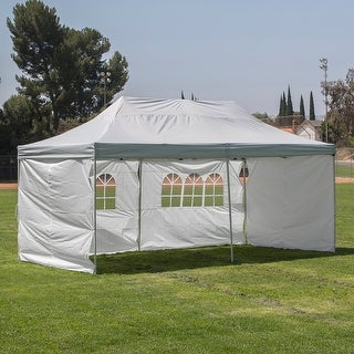 Belleze Pyramid Shelter Pop Up Canopy Tent 10x20ft Cathedral-style Ceiling , 4-Sidewall -Silver/White