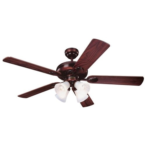 "Westinghouse 7856865 Swirl 52"" 5 Blade Hanging Indoor Ceiling Fan with Reversible Motor, Blades, Light Kit, and Down Rod"