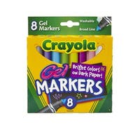 Crayola Non-Toxic Washable Gel Marker Set, Conical Tip, Assorted Colors, Set of 8