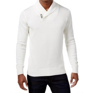 Sean John NEW Bright White Mens Size XL Shawl Collar Ribbed Sweater