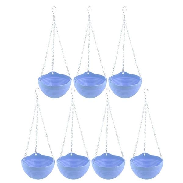 Unique Bargains Family Balcony Plastic Chain Hanging Flower Pot Holder Container Blue 7 Pcs
