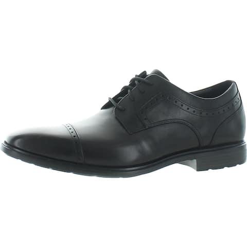 Rockport Mens Farrow Cap Toe Cap Toe Oxfords Leather Lace Up - Black - 10.5 Medium (D)