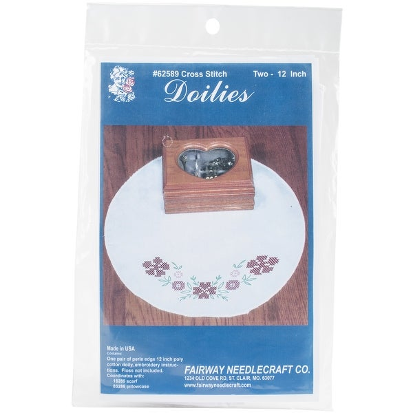 "Stamped Doily 12"" Round-Cross Stitch Flower"