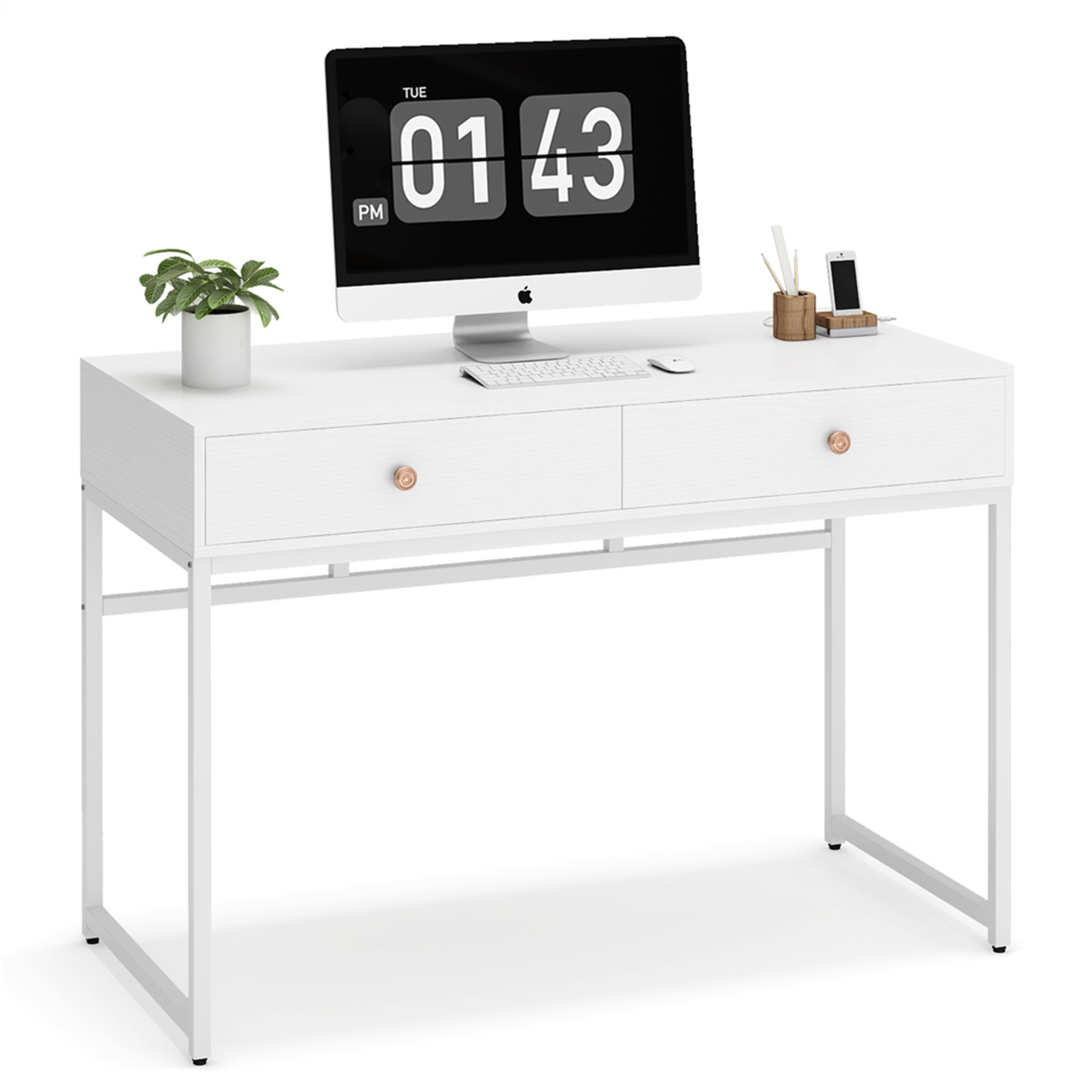 47 Inch Contemporary Computer Desk With 2 Drawers Overstock 31310192