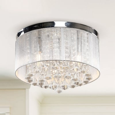 Flush Mount Drum Chandelier Crystal Ceiling Light Fixture 3 Light - Chrome