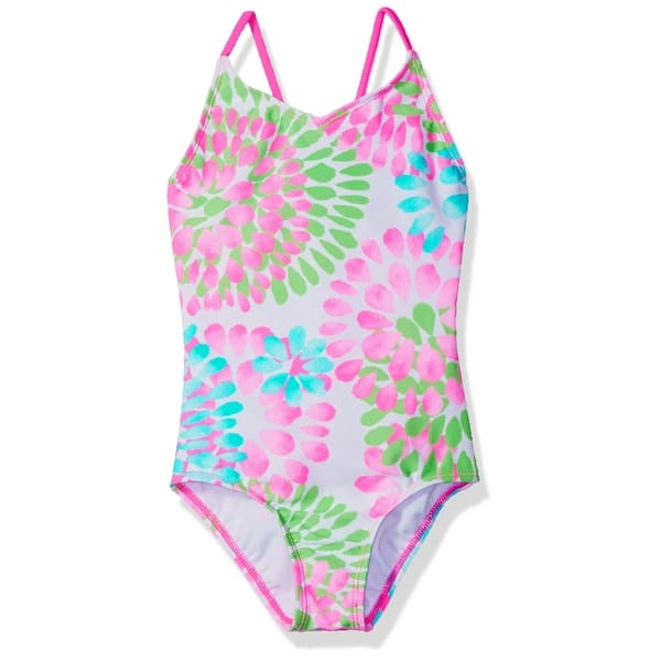 8db3e16f9d Kanu Surf Neon Pink Girl's Size 10 Daisy Printed One-Piece Swimsuit