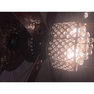 Pshita 3-light Crystal 5-blade 52-inch Rustic Bronze Ceiling Fan (Remote Optional)