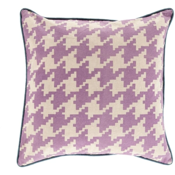 """20"""" Purple, Ivory and Blue Hounds Tooth Decorative Throw Pillow Shell"""
