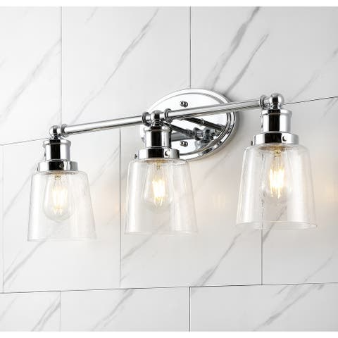 Beverly Iron/Seeded Glass LED Vanity Light, Chrome by JONATHAN Y