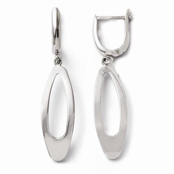 10k White Gold Polished Dangle Earrings