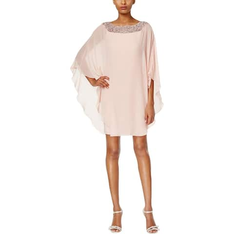 79f61038fa1 Xscape Womens Cocktail Dress Chiffon Overlay Embellished