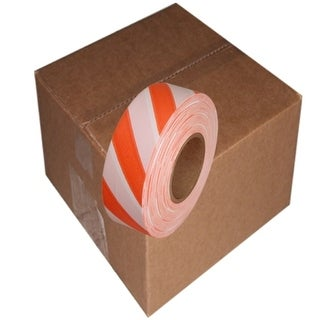 """Tape Planet Safety Striped Flagging Tape 1-3/16"""" Non-Adhesive Plastic Ribbon (12 Roll/Case)"""
