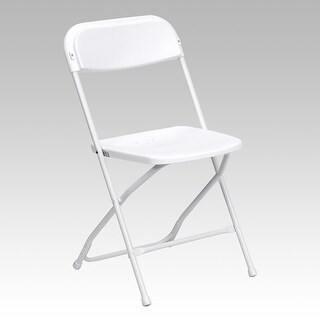 Rivera Heavy Duty Plastic Folding Chair, White