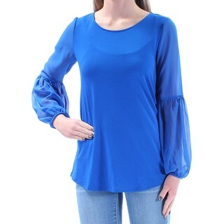 Womens Blue Long Sleeve Jewel Neck Casual Top Size 2XS