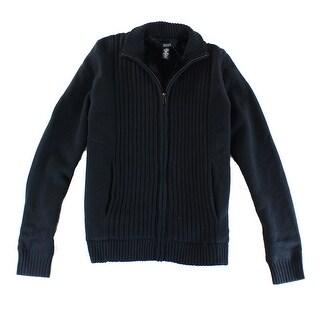Alfani NEW Black Mens Size Small S Full Zip Textured Panel Knit Jacket
