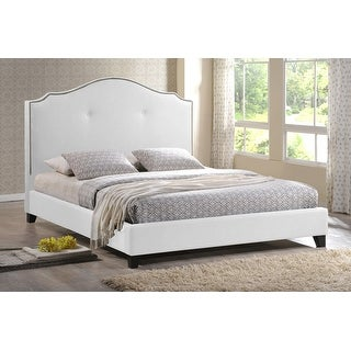 Baxton Studio Marsha Scalloped White Modern Bed with Upholstered Headboard - King Size