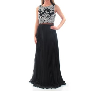 Womens Black Sleeveless Full Length Accordion Pleat Prom Dress Size: 2