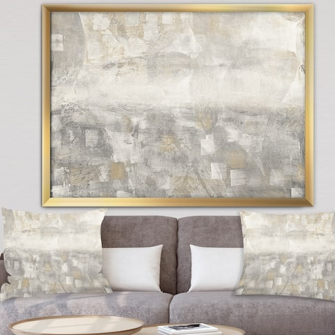 Designart 'Gray Abstract Watercolor' Contemporary Framed Art Print