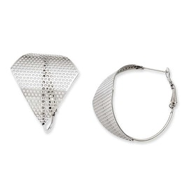 Stainless Steel Fancy Cut Out Hoop Earrings