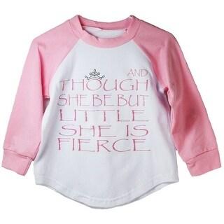 Baby Girls Pink Shakespeare Quote Print Cotton Spandex Raglan T-Shirt