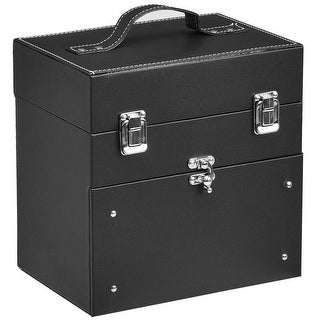 Gymax Nail Accessories Organizer Makeup Case Polish Travel Box Panel With Drawer Black