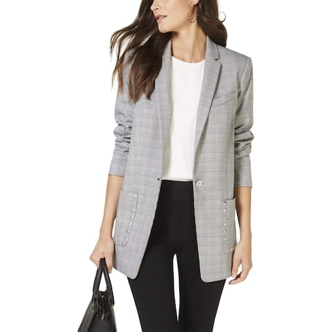 Michael Kors Womens Jacket Gray Black Size XXL Studded Glenplaid