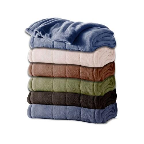 shop sunbeam channeled microplush electric heated blanket. Black Bedroom Furniture Sets. Home Design Ideas