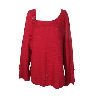 Style Co Plus Size Red Metallic Silver Lace-Up Long Sleeve Bell Cuff Sweater 3X