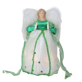12 Lighted Green and White Luck of the Irish Angel Christmas Tree Topper