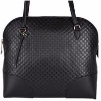 Gucci Women's 449243 Medium Micro GG Black Leather Dome Satchel Purse