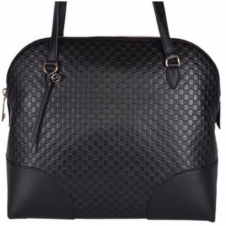 "Gucci Women's 449243 Medium Micro GG Black Leather Dome Satchel Purse - 13.5"" (w) x 12"" (h) x 6"" (d)"