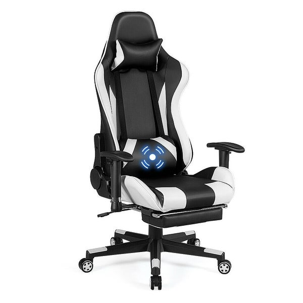 Costway Massage Gaming Chair Recliner Gamer Racing Chair w/ Lumbar - see details