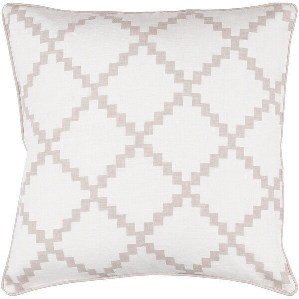 "20"" White and Classic Taupe Gray Woven Throw Pillow- Down Filler"
