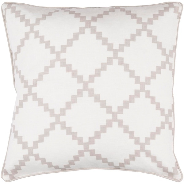 """22"""" White and Classic Gray Woven Square Throw Pillow with Sewn Seam Closure"""