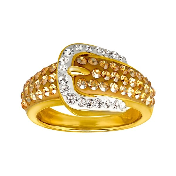 Crystaluxe Buckle Ring with Golden and White Swarovski Crystals in 18K Gold-Plated Sterling Silver - Yellow