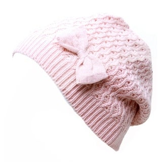 Wintersong Ribbon Knit Beanie- Pink