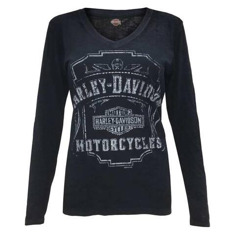 Harley-Davidson Women's Midnight Shine Long Sleeve Burnout Shirt, Navy R001493