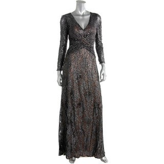 David Meister Womens Metallic Sequined Evening Dress