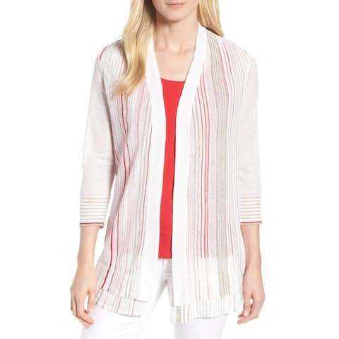 Nic + Zoe Womens Large Cardigan Striped Sweater