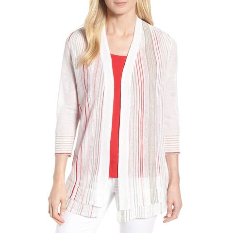 Nic + Zoe Womens White Size Medium M Cardigan Striped Sheer Sweater