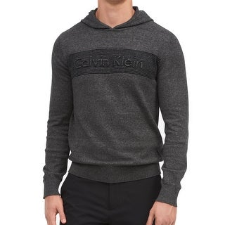 Calvin Klein Gray Mens Size Large L Logo Hooded Textured Sweater