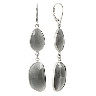 Zoccai 925 Slate Quartz Drop Earrings in Sterling Silver - grey