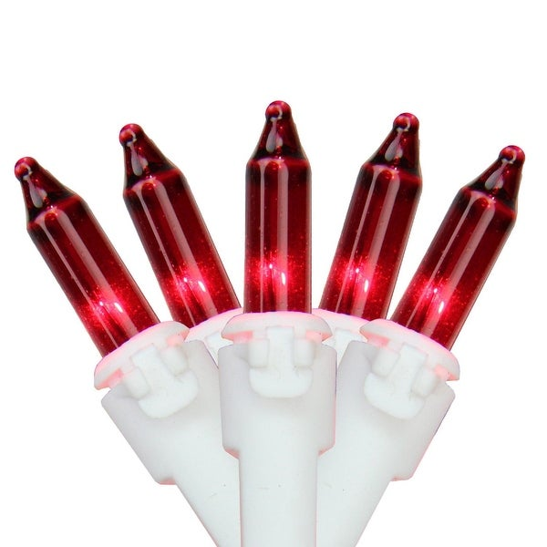 """Set of 100 Red Mini Christmas Lights 4.25"""" Spacing - White Wire"""