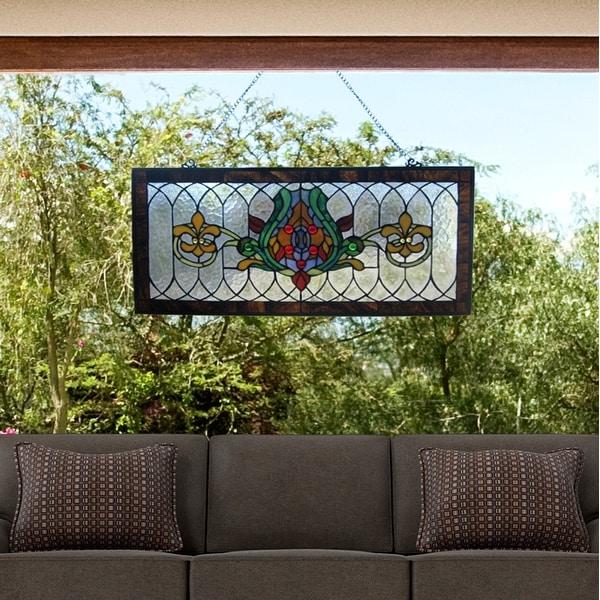 """River of Goods Fleur De Lis Stained Glass Pub Window Panel - 30""""L x 0.25""""W x 14""""H"""