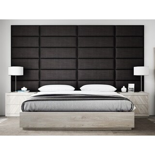 """VANT Upholstered Headboards - Accent Wall Panels - Packs Of 4 - Textured Cotton Weave Black Denim - 39"""" Wide x 11.5"""" Height."""