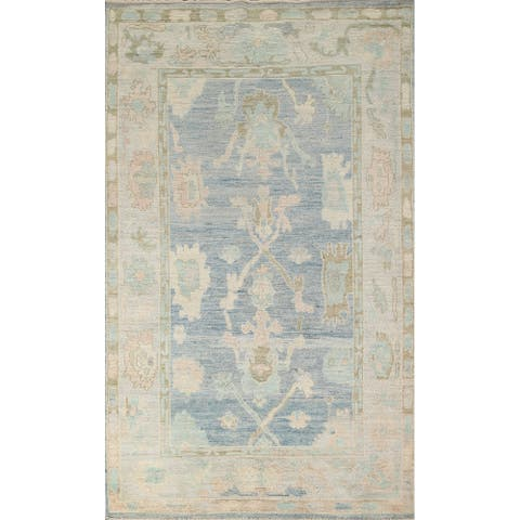 """Traditional Oushak Turkish Oriental Area Rug Hand-knotted Wool Carpet - 5'1"""" x 8'1"""""""