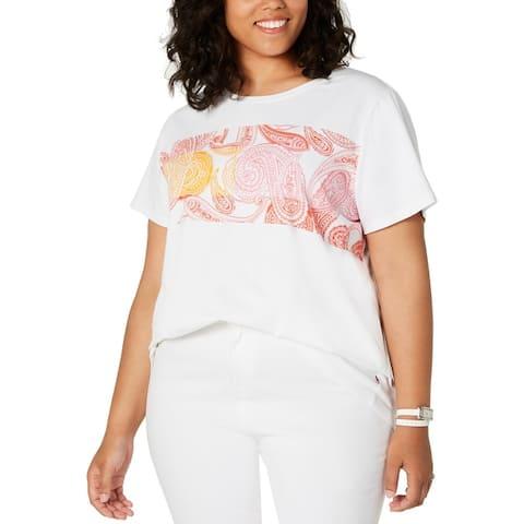 Tommy Hilfiger Womens Plus T-Shirt Graphic Crewneck - White