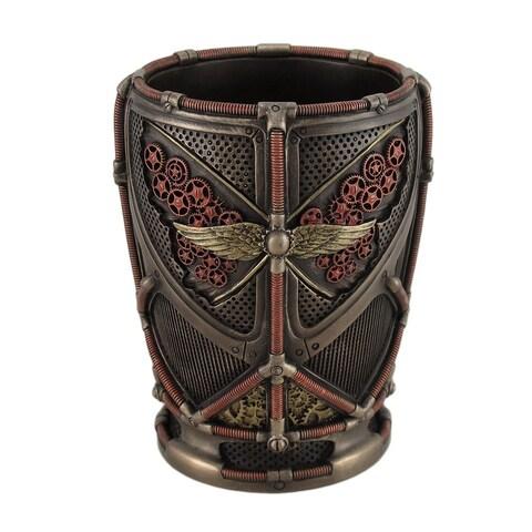 Steampunk Butterfly Design Bronze Finish Pen / Pencil Cup