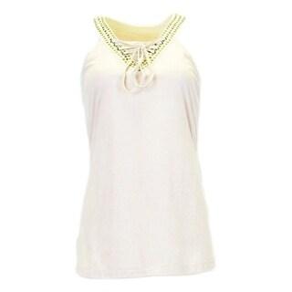 Cowgirl Tuff Western Shirt Womens V-neck Lacing Tank Top Cream